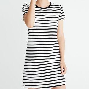 Madewell Striped Ringer Tee Dress XS Black White
